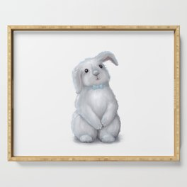 White Rabbit Boy isolated Serving Tray