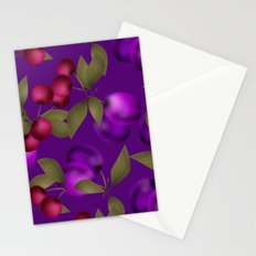 Fruit market . Plum and cherry . Stationery Cards