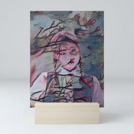 Cherry Blossom Schoolgirl | AI-Generated Art Mini Art Print