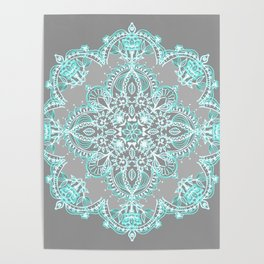 Teal and Aqua Lace Mandala on Grey Poster