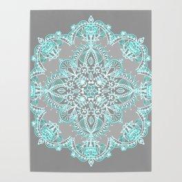 Teal and Aqua Lace Mandala on Grey Poster