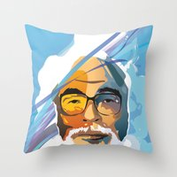 nausicaa Throw Pillows featuring Miyazaki by zero Bounty
