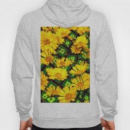 Golden Yellow Coreopsis Flowers Green-black Patterns Hoody