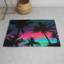 Deep Pink Palm Tree Sunset Rug