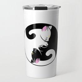 Yin yang cats in black and pink Travel Mug