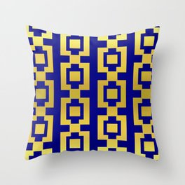 Gold and blue pattern Throw Pillow