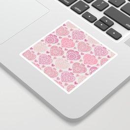 Pink Heart Valentine's Doilies Pattern Sticker