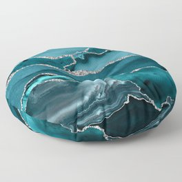 Glamour Turquoise Blue Bohemian Watercolor Marble With Silver Glitter Veins Floor Pillow
