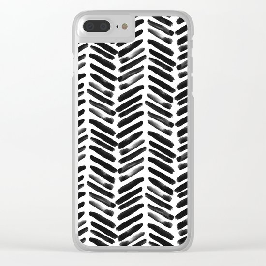 Simple black and white handrawn chevron - horizontal -  #Society6 Clear iPhone Case