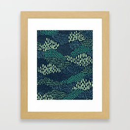 Dashes and dots in blue-green // abstract pattern Framed Art Print