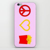 french fries iPhone & iPod Skins featuring Peace, Love, French Fries by Bunhugger Design