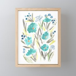 Farmhouse Chic Blue Floral Artwork Framed Mini Art Print