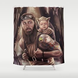 Father and Son Swamp Training Shower Curtain