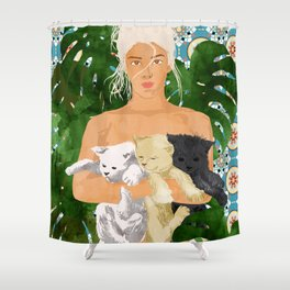 Morocco Vacay #illustration #painting Shower Curtain