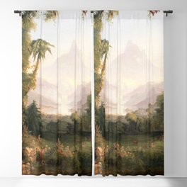 Garden of Eden Paradise with Penitent Adam and Eve landscape painting by Thomas Cole Blackout Curtain