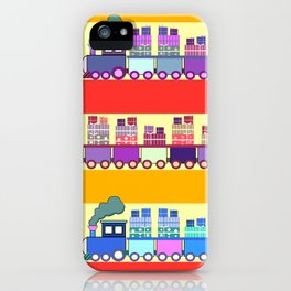 Colorful trains with Christmas gifts iPhone Case