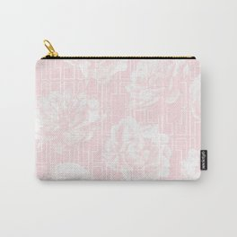 Rose Garden Pink Flamingo on White Mid-Century Lattice Carry-All Pouch