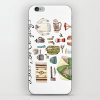 backpack iPhone & iPod Skins featuring Let's Go Camping by Brooke Weeber