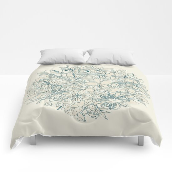 Denim flower circle Comforters