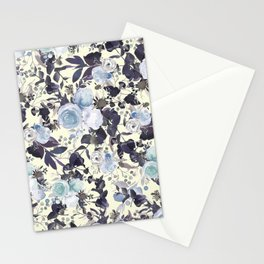 Elegant ivory purple blue mint green watercolor flowers Stationery Cards