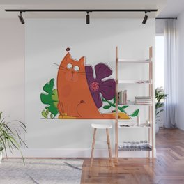 cat and ladybugs Wall Mural