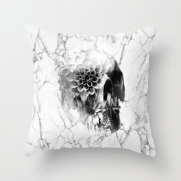 Decay Marble Skull Throw Pillow
