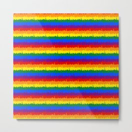 Mini Manhattan Skyline NY Pride Rainbow Stripe Metal Print