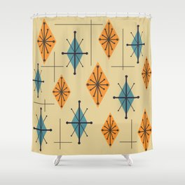 Mid Century Modern Starburst Diamonds Orange And Blue Shower Curtain