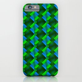 Tile of bright green squares and triangles in blue. iPhone Case