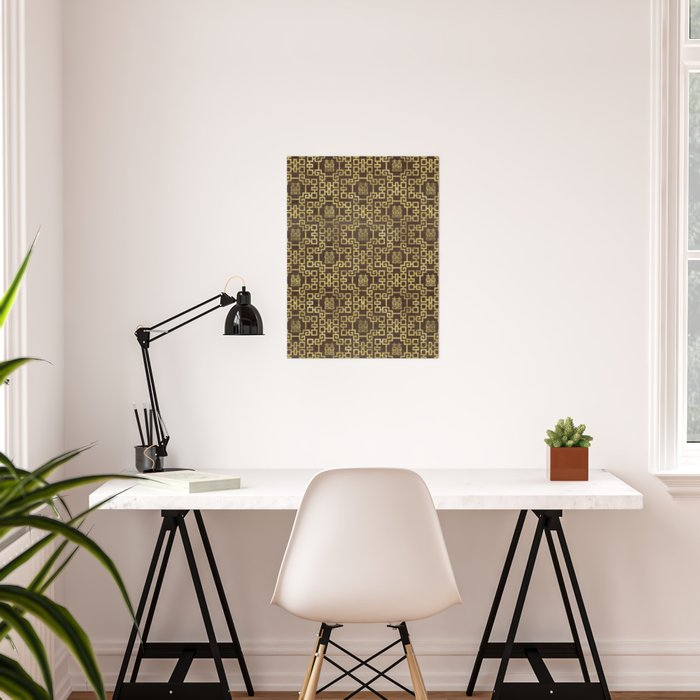 Chinese Pattern Double Happiness Symbol Gold on Wood Poster