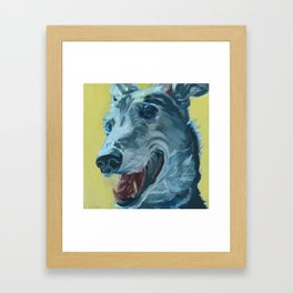 Dilly the Greyhound Portrait Framed Art Print