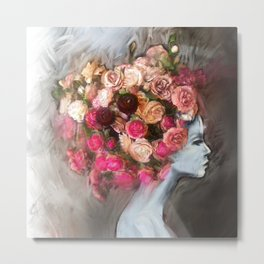 Flower Bloom Girl Metal Print