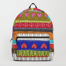 hand drawn brightly colored stripes with hearts Backpack