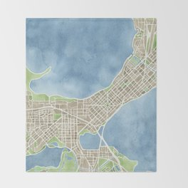 City Map Madison Wisconsin watercolor  Throw Blanket