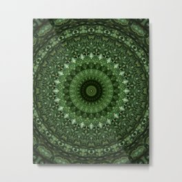 Mandala in olive green tones Metal Print