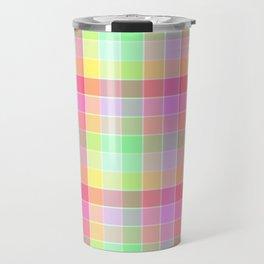 Pastel Rainbow Sorbet Ice Cream Check Plaid Travel Mug