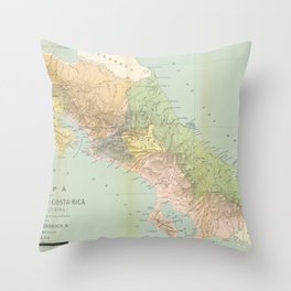 Vintage Map of Costa Rica (1889) Throw Pillow