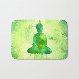 Green Watercolor Buddha Painting Bath Mat