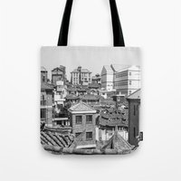seoul Tote Bags featuring Seoul Rooftops by Jennifer Stinson