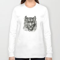 snow leopard Long Sleeve T-shirts featuring Snow Leopard SK040b schukina by S-Schukina