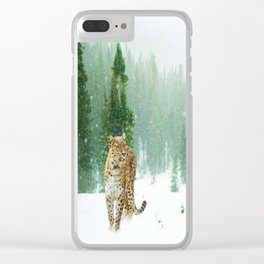 Leopard Seeking Food in a Gentle Snow Clear iPhone Case