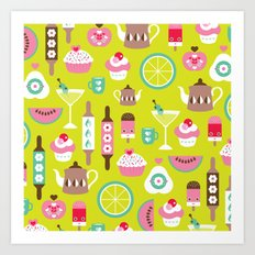Lime cocktail party and candy kitchen food print Art Print