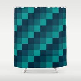 Ocean Waves - Pixel patten in dark blue Shower Curtain