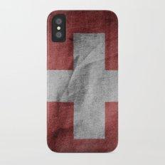 Old Vintage Grunge Switzerland Flag iPhone X Slim Case