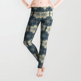 Blue Floral Japanese Pattern Leggings