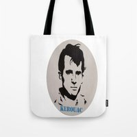 kerouac Tote Bags featuring Jack Kerouac Record Painting by All Surfaces Design