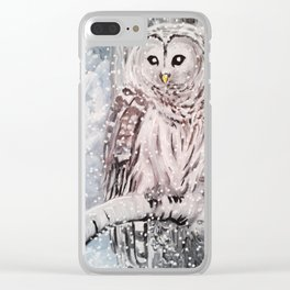 Owl under the snow Clear iPhone Case