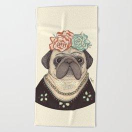 Frida Pug Kahlo Beach Towel