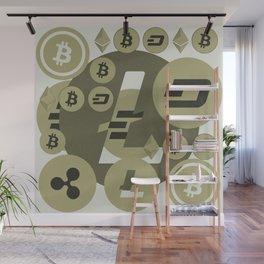 Ethereum, Bitcoin, Dash, Ripple, Litcoin pattern Wall Mural