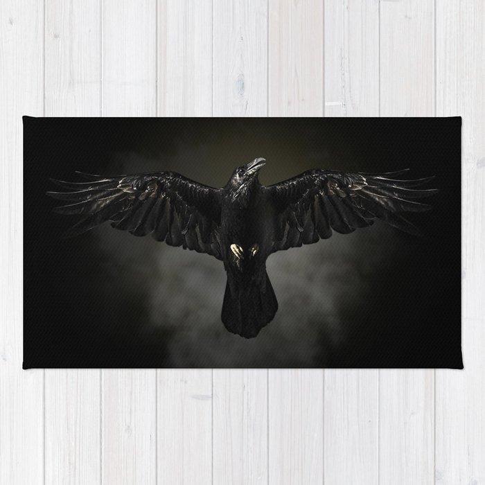 Black raven, crow flight Rug